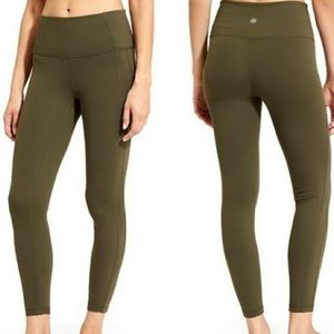 ATHLETA Power Up 7/8 High Rise Tights Leggings Olive Green Large